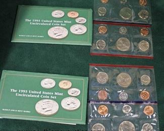 "The 1993 United States Mint Uncirculated Coin Set with ""P"" and ""D"" Marks  Auction Estimate $5-$10 each – Located Glassware"