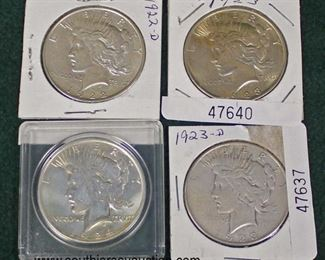 Selection of Silver Peace Dollars  Auction Estimate $20-$50 each – Located Glassware