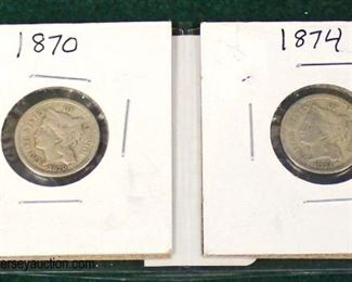 1870 & 1874 Silver .03 Cent  Auction Estimate $5-$10 – Located Glassware
