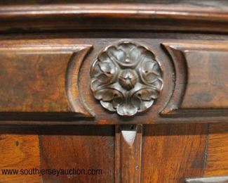 ANTIQUE Walnut Victorian Carved 2 Door 2 Drawer Bookcase  Auction Estimate $300-$600 – Located Inside