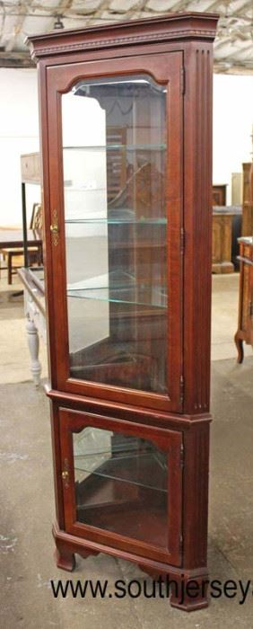 "Mahogany ""Furnitureland South"" 2 Door Corner Display Cabinet  Auction Estimate $200-$400 – Located Inside"