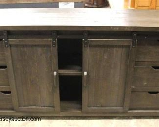 NEW Rustic Style Contemporary 2 Sliding Door 6 Drawer Media Cabinet  Auction Estimate $200-$400 – Located Inside