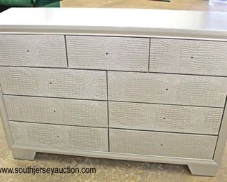 NEW Contemporary Decorated with Faux Snake Skin Front 9 Drawer Low Chest – Hardware in Drawer  Auction Estimate $200-$400 – Located Inside