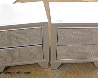 PAIR of NEW Contemporary Decorated with Faux Snake Skin Front 2 Drawer Night Stands – Hardware in Drawer  Auction Estimate $100-$200 – Located Inside