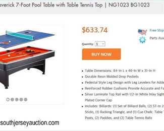 "NEW ""Blue Wave Products Hathaway Games and Sports"" 7' Foot Pool Table with Table Top Tennis Item #NG 1023 – in box  Auction Estimate $200-$600 – Located Dock"