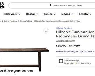 "NEW ""Hillsdale Furniture"" Jennings Wood and Metal Rectangular Dining Room Table in the Dark Chestnut #100093-100162  Auction Estimate $100-$300 – Located Dock"
