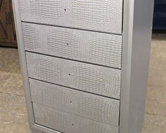 NEW Contemporary Decorated Faux Snake Skin Front 5 Drawer High Chest – Hardware in Drawer  Auction Estimate $200-$400 – Located Inside
