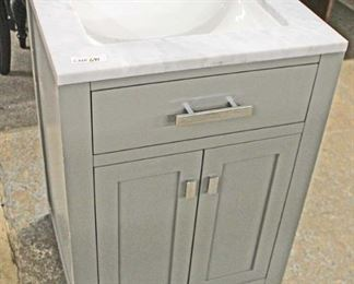 "NEW 24"" Marble Top 2 Door Grey Bathroom Vanity with Backsplash  Auction Estimate $200-$400 – Located Inside"