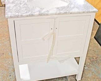 "New 30"" Marble Top 2 Drawer White Bathroom Vanity with Backsplash  Auction Estimate $200-$400 – Located Inside"