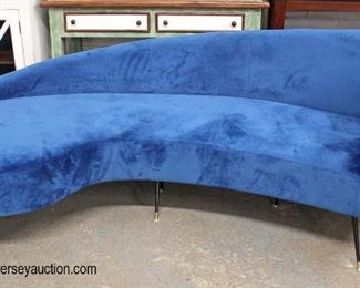 NEW Contemporary Blue Velour Modern Design Sofa  Auction Estimate $300-$600 – Located Inside