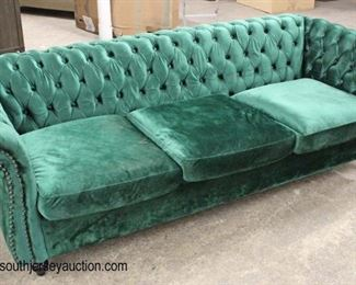 NEW Green Velour Contemporary Button Tufted Sofa  Auction Estimate $300-$600 – Located Inside