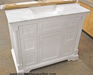 "NEW 42"" Marble Top 6 Drawer 1 Door Columned Bathroom White Vanity with Backsplash and Hardware in the Drawer  Auction Estimate $200-$400 – Located Inside"