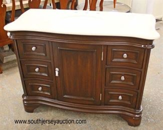 "NEW 48"" Light Brown Marble Top 6 Drawer 1 Door Serpenitne Style Bathroom Vanity with Backsplash in the Mahogany Finish  Auction Estimate $200-$400 – Located Inside"