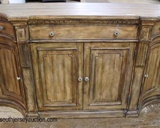 "NEW ""Hooker Furniture"" Contemporary Rustic Style 4 Door 2 Drawer Credenza with Desk  Auction Estimate $200-$400 – Located Inside"