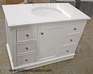 "NEW 42"" Marble Top White 6 Drawer 1 Door Bathroom Vanity with Hardware  Auction Estimate $200-$400 – Located Inside"