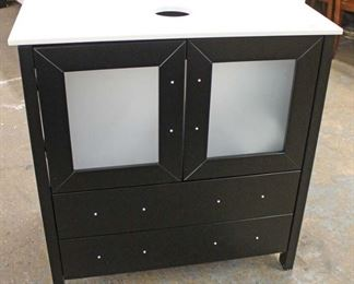 "NEW 30"" Marble Top Drawer Black Bathroom Vanity Cabinet with 2 Frosted Glass Doors over 2 Drawers  Auction Estimate $200-$400 – Located Inside"