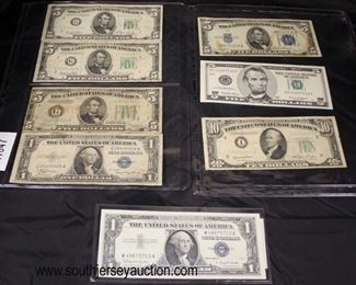 Selection of Silver Certificate $1.00 Bill, Sheet of Old $5.00 Bills and $1.00 Silver Certificate, Sheet of $5.00 Silver Certificate, Uncirculated $5.00 and a 1950 $10.00 Bill  Auction Estimate $20-$50 per sheet – Located Glassware