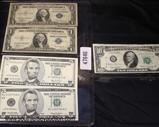 Sheet of (2) $1.00 Silver Certificates and (2) Uncirculated $5.00 Bills and a 1969 $10.00 Bill  Auction Estimate $20-$50 per sheet – Located Glassware
