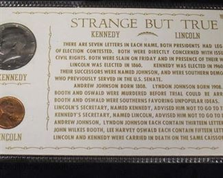 """Strange but True"" Kennedy Half Dollar and Lincoln Penny  Auction Estimate $5-$10 – Located Glassware"