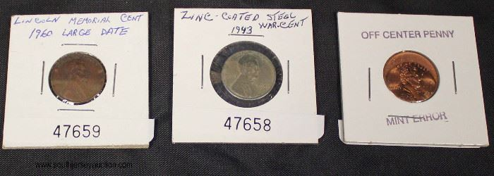 Zinc Coated 1943 Steel War Penny, Off Center Mint Error Lincoln Penny, and Lincoln Memorial 1960 Large Date Penny  Auction Estimate $5-$10 each – Located Glassware