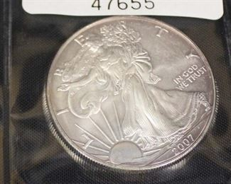 2007 Silver American Eagle Dollar  Auction Estimate $20-$50 – Located Glassware
