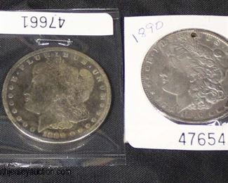 U.S. 1889 and 1890 Silver Morgan Dollars  Auction Estimate $20-$50 each – Located Glassware