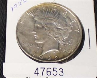U.S. 1922 Silver Peace Dollar  Auction Estimate $20-$50 – Located Glassware