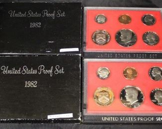 (2) United States 1982 Proof Sets  Auction Estimate $10-$20 – Located Glassware