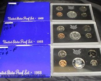 (3) United States 1968 Proof Sets  Auction Estimate $15-$25 – Located Glassware