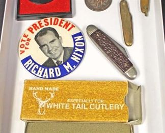 Tray Lot of Pen Knives, Nixon for President Button, Hand Made White Tail Cutlery Knife, George Washington Commemorative Coin, and New Jersey Catholic High School Conference Championship Medal  Auction Estimate $20-$50 – Located Glassware