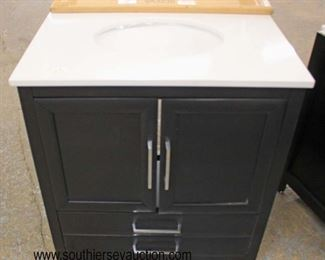 "NEW 30"" Marble Top 2 Door 2 Drawer Bathroom Vanity with Backsplash  Auction Estimate $200-$400 – Located Inside"