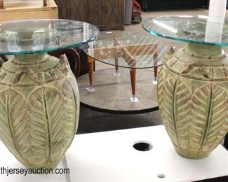 PAIR of Custom Terracotta Vase Base Glass Top Decorator Lamp Tables  Auction Estimate $100-$200 – Located Inside
