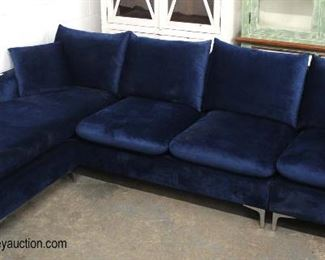 NEW Blue Velour 3 Section Contemporary Sofa Chaise  Auction Estimate $300-$600 – Located Inside