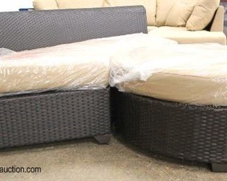 NEW 2 Piece Circular All Weather All Season Wicker Sofa with Large Round Ottoman – Still in Plastic  Auction Estimate $200-$400 – Located Inside
