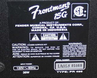 """Fender Musical Instruments Corporation"" Frontman 15G Amp  Auction Estimate $100-$200 – Located Glassware"