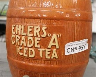 """Ehlers Grade A"" Advertisement Iced Tea Dispenser  Auction Estimate $100-$300 – Located Glassware"