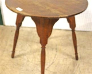 ANTIQUE Tiger Maple Round Pegged Lamp Table in Original Found Condition  Auction Estimate $100-$200 – Located Inside