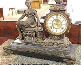 IMG_2271 copy auction  ANTIQUE Ansonia Clock Co., New York, USA French Figural Lady Mantle Clock with Pendulum  Auction Estimate $200-$400 – Located Inside