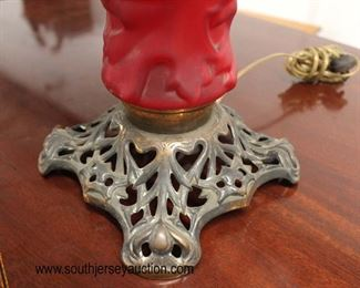 Ruby Red Color Gone with the Wind Style Lamp with Metal Base  Auction Estimate $50-$100 – Located Inside
