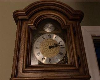 Grandfather clock purchased in Germany. Beautiful oak.