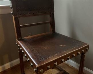 Antique leather and brass chairs Spanish Gothic set of six!  From France.  Priced significantly under value