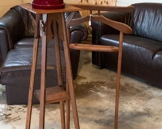 Leather sofa, chairs and ottomans.  Antique plant stand is sold.