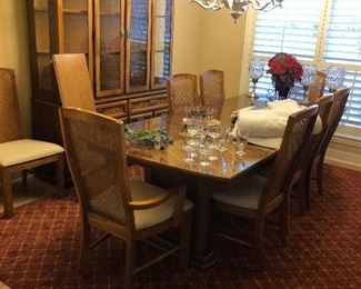 Formal dining room suite with table and 8 chairs and hutch $200.00