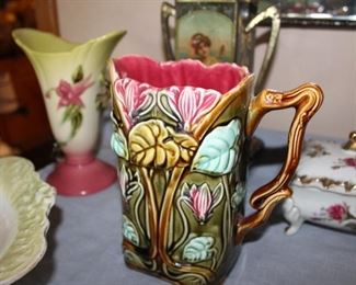 "c1890 Majolica pitcher ""Cyclamens"""