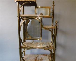 Brass onyx etagere