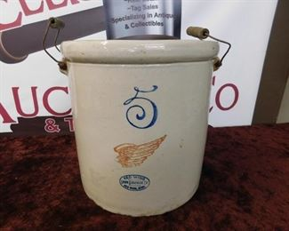Early Red Wing 5 Gallon Stoneware Crock(1915 Patent)