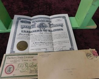 1914 Illinois State Barbers License
