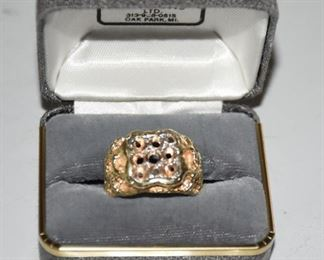10K Nugget Man's Ring without stones