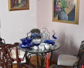 Modern Glass Top Table, Cobalt Blue Dishes, Great Signed Framed Modern Art, Child's Tea Set,