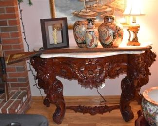 Ornate Style similar to John Henry Belter's pieces with Marble Top, (Asian Rosewood) Oriental Vases, Lamp, and Cap Gun